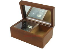 Wind Up Music Box Musical Finished Wood Mirror Lid Jewelry