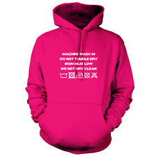Washing Machine Label - Unisex Hoodie / Hooded Top - Cleaning - 9 Colours