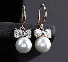 Fashion Jewelry Women Bow Crystal Inlay Pearl Silver Gold Plated Zircon Earrings