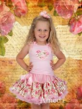 Rose Pettiskirt Tutu Light Pink Flower Heart Tank Top Birthday Party Dress 1-7Y