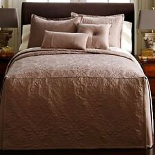 JCP Royal Velvet MONUMENT BEDSPREAD Quilt Stitch Box Pleat Matte Satin Ret $200