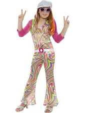 Child 60s 70s Disco Groovy Glam Girl Fancy Dress Costume Hippie Funky Kids BN