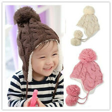 Top Unisex Baby Toddler Girl Boy Earflaps Big Lob Winter Warm Knit Hat Cap 0029