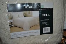 JCPenney home FRINGED CHENILLE SAVANNAH BEDSPREAD FULL CREAM  Retail $140