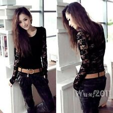 Women Long Sleeve Backless Floral Lace Crochet Casual Slim Top T-Shirt Black S M