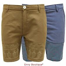 BELLFIELD MENS DESIGNER CHINO SHORTS COTTON PRINTED CASUAL SUMMER PANTS TROUSERS