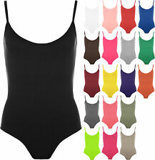 New Womens Strappy Sleeveless Ladies Camisole Vest Bodysuit Leotard Top 8-14