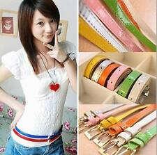 New Fashion Synthetic Leather Thin Belt Women's Girls Candy Color Third Free