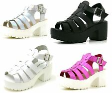 Womens Chunky Platform Gothic Sling Back Gladiator Punk Sandals Grip Sole Shoes