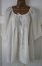 New Monsoon Ladies Ivory Cream Summer Blouse Shirt Top Size 8 10 12 14 16 18 20