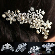 SWEET CRYSTAL FLOWER HAIR COMB RHINESTONE PEARLS HAIR CLIP WOMENS BRIDAL JEWELRY