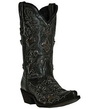 Laredo Women Peekaboo Black/Tan Western Fashion Cowboy Cowgirl Boot 52040