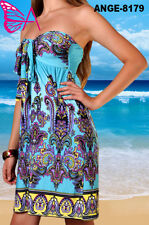New Angela Ladies Sexy Short Holiday Summer Beach Dress Strapless UK Size 8-18