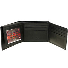 Men Bifold Wallet Genuine Leather Flap Up Out Extra Capacity 2 IDs 12 Card Slots