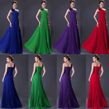 2014 Chiffon One Shoulder Long Formal Prom Dresses Party Bridesmaid Evening Gown