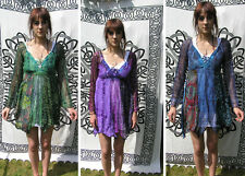Hippy Gothic Top Steampunk Floaty Lacey Ladies Long Sleeve Black Blue Purple