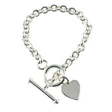 Chunky Single Link Sterling Silver Charm Bracelet With Heart & Bar - 3 Sizes