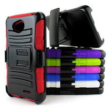 For LG Optimus Exceed 2 VS450PP Rugged Hybrid Hard Case Cover Belt Clip Holster