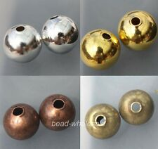 50/100pcs New Copper Seamless Ball Spacer Beads Silver/Gold//Copper Plated 6/8mm