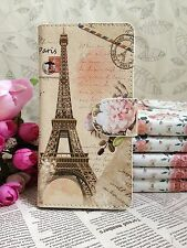 New Card Holder Paris Flower Eiffel Tower PU Leather Cover Case Skin For Samsung