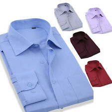 New handsome Men's Stylish Office Work Shirts Solid Color Long Sleeve Shirt Tops