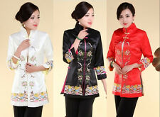 Chinese Women's silk embroidery jacket/coat Black Red white Sz M-4XL