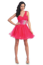 Flirty One Shoulder Short Tulle Mini Fun Homecoming Prom Cocktail Night Dress