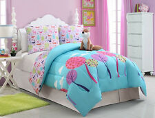 Girls Teens Pink Blue Foxy Lady Fox Bed in a Bag Comforter Set