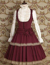 Wine Red Sweet Gothic Victorian Maiden Long Sleeve Cosplay Lolita Dress Costume