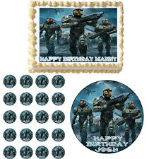 HALO WARS Edible Birthday Party Cake Topper Cupcake Image Decoration
