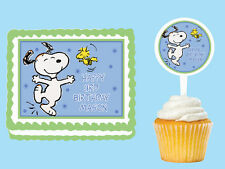 SNOOPY Edible Birthday Party Cake Topper Cupcake Plastic Pick Sticker