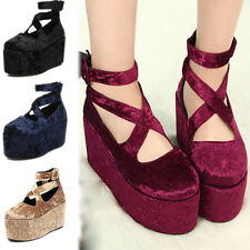 Lady's Platform Cross Lacing Retro Wedge Flatform Punk Creepers Thick Sole Shoes