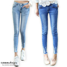 jn35 Celebrity Style Super Low-rise Skinny Leg Ankle Cropped Ripped Jeans Pants