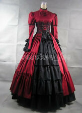 Black/Red Satin Victorian Goth Ruffles Gown Ball Lolita Dress Outfit Tailor Made