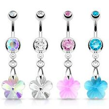 Surgical Stainless Steel Crystal Prism Flower Dangle Belly Bar Navel Ring