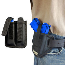 New Barsony Ambi Pancake Holster + Dbl Mag Pouch Kel-Tec Kimber Sccy Comp 9mm 40