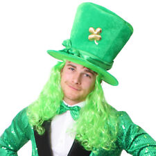 GREEN IRISH HAT W SHAMROCK AND HAIR IRELAND ST PATRICKS DAY FANCY DRESS COSTUME