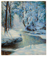 WALTER LAUNT PALMER Stream in a Snowy Landscape MEANDERING water trees CANVAS!