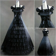 Victorian Gothic Black Satin Gown Ball Halter Layered Lolita Dress Custom Made