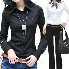 Ladies Cotton Shirts Womens Button Down Blouse Long Sleeve Top Office Shirt size