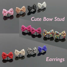 Rhinestone Crystal Cute New Ribbon Bow Stud Earrings