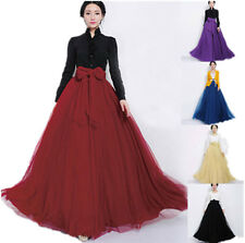 Women High Elastic Waist Mesh Tulle Long Dress Maxi Full TUTU Skirt Belted