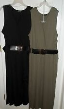 Womens Plus~Knit Long MAXI DRESS with BELT size 2X 3X 4X~NWT~BLACK~OLIVE Green