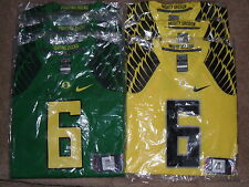 New Mens Nike Oregon Ducks Game Football Jersey #6 Green Yellow $90 UO Feathers