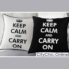 45cm x 45cm Decorative Black & White ''Keep Calm & Carry On'' Cushion Cover