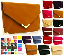 Ladies Girls Synthetic Leather Envelope Gold Trim Clutch Bag Party Evening Bag