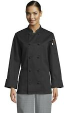 Sedona womens knot long sleeve chef coat, white or black, sizes XS-6XL, 490 0490