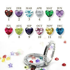 10pcs of each month - Birthstone Floating Charm For Living Memory Locket UK HOT
