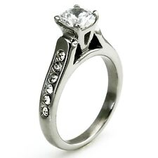 Women's Stainless Steel Imitation Diamond Solitaire Wedding Ring