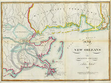 1815 LOUISIANA MISSISSIPPI TERRITORY GULF DELTA  NAUTICAL MAP